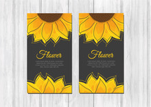 Business Cards With Bright Yellow Sunflowers