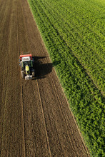 Aerial View Of The Tractor On ...