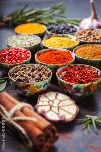 Printed kitchen splashbacks Spices Different spices in bowls on table