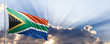 canvas print picture - South Africa flag on blue sky. 3d illustration