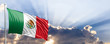 canvas print picture Mexico flag on blue sky. 3d illustration