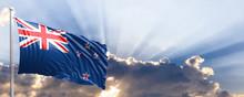 New Zealand Flag On Blue Sky. ...