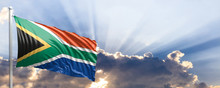 South Africa Flag On Blue Sky....