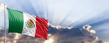 Mexico Flag On Blue Sky. 3d Il...