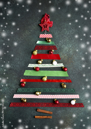Christmas Tree Top View.Abstract Christmas Tree Made From Bright Ribbons Top View