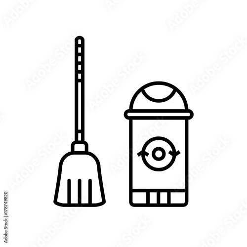 Broom and trash can flat line icons on isolated background
