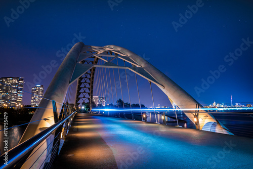 Canvas Print Humber Bay Arch Bridge Toronto Ontario Canada Featuring Long Exposure at Blue Ho