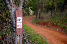 Mountain Bike Trail Sign In Autumn Oak Forest