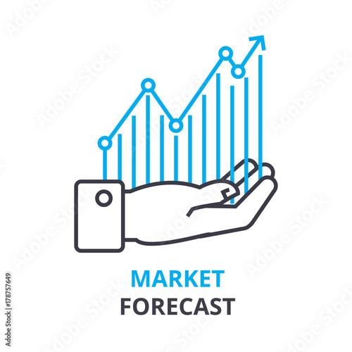 Cuadros en Lienzo market forecast concept, outline icon, linear sign, thin line pictogram, logo, f