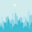 City skyline vector illustration. Blue city silhouette.