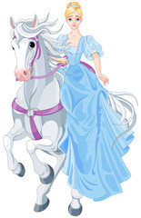 Fototapeta The Princess Is Riding a Horse