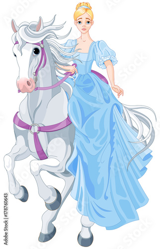 Garden Poster Fairytale World The Princess Is Riding a Horse