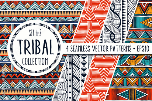 Foto auf AluDibond Boho-Stil Colorful ethnic patterns collection. Set of 4 modern abstract seamless ornaments. All patterns are available under the clipping mask. EPS10 vector illustration.