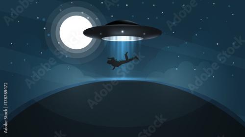 Photo  UFO kidnaps a person - cartoon illustration. Vector, eps 10