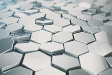 Silver Abstract Hexagonal Back...