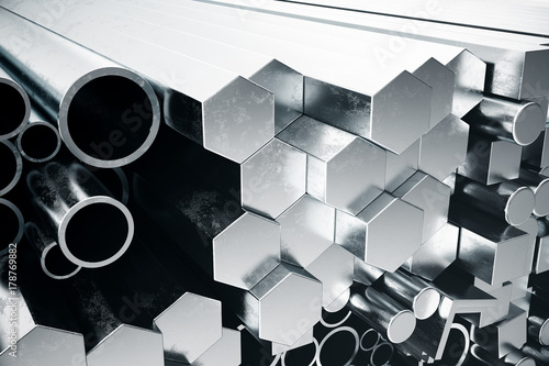Fototapeta metal  cylindrical-metal-steel-profiles-hexagonal-metal-steel-profiles-square-metal-steel-profiles