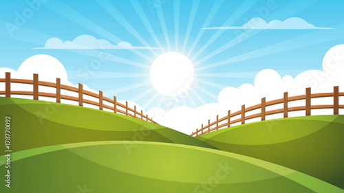 Photo Stands Turquoise Fence, cartoon landscape. Sun, cloud sky illustration Vector eps 10
