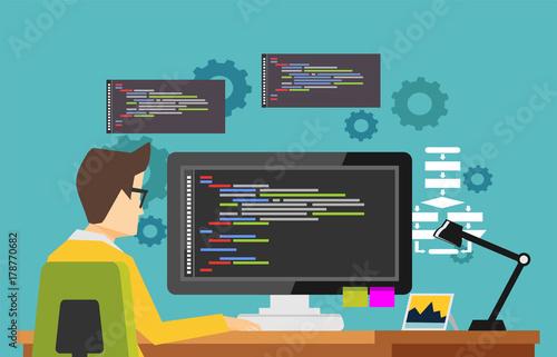 Fotografía  Programmer working on computer