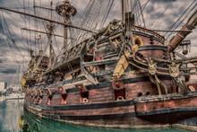 Wooden Pirate Ship In Genoa