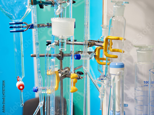 Valokuvatapetti Burettes and flasks in chemical laboratory