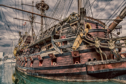 Wooden pirate ship in Genoa Wallpaper Mural