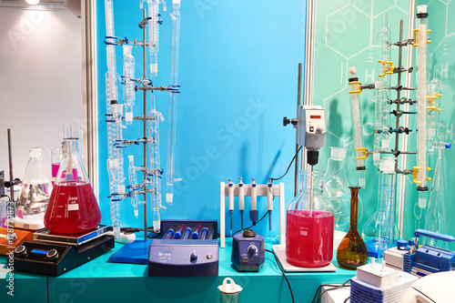 Fotografie, Tablou  Flasks, burettes and shakers in chemical laboratory