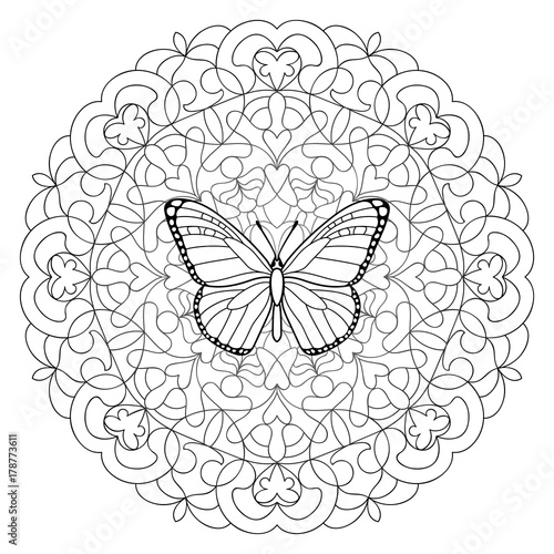 Butterfly Mandala Coloring Page Buy This Stock Vector And