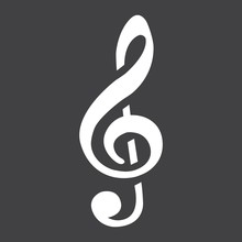 Treble Clef Glyph Icon, Music And Instrument, Note Sign Vector Graphics, A Solid Pattern On A Black Background, Eps 10.