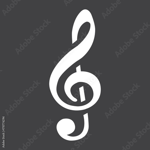 Obraz na płótnie Treble Clef glyph icon, music and instrument, note sign vector graphics, a solid pattern on a black background, eps 10