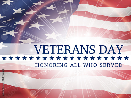 Foto  Veterans Day, honoring all who served - poster with the flag of the United State