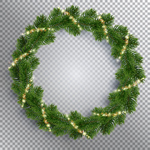 Christmas Fir-tree Wreath And Holly Glowing Lights. Golden Shining Sparks. Transparent Background. Realistic Illustration. Vector EPS10.