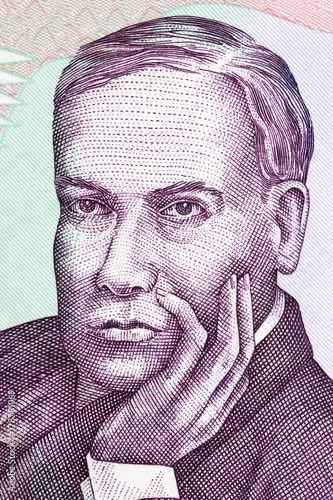 Ruben Dario portrait from Nicaraguan money Canvas