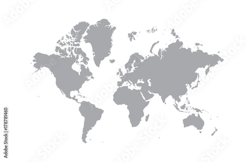 Blank grey world map isolated on white background popular world map blank grey world map isolated on white background popular world map vector globe template for gumiabroncs Image collections