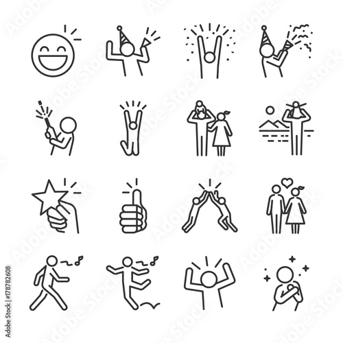 Happy line icon set. Included the icons as fun, enjoy, party, good mood, celebrate, success and more. Wall mural