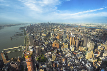 Plakat New York, USA - April, 25, 2017: Aerial view from Observatory deck of the Empire State Building to Downtown Manhattan and Lower Manhattan New York, NYC, USA. Skyline with skyscrapers.