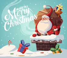 Christmas Card Design Template With Santa Claus