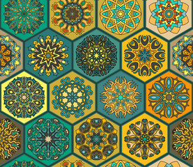 Fototapeta Orientalny Seamless pattern. Vintage decorative elements. Hand drawn background. Islam, Arabic, Indian, ottoman motifs. Perfect for printing on fabric or paper.