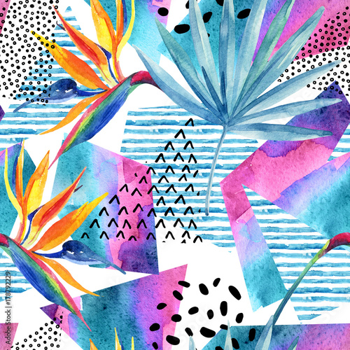 Staande foto Grafische Prints Watercolor tropical flowers on geometric background with doodles.