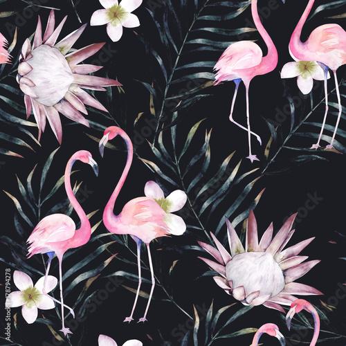 akwarela-afrykanski-protea-flaming-i-tropikalny-wzor-lisci-bezszwowy-motyw-z-malujacymi-kwiecistymi-elementami-na-czarnym-tle-dla-zawijac-tapety-tkaniny-recznie-rysowane-ilustracja