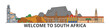 South Africa outline skyline, african flat thin line icons, landmarks, illustrations. South Africa cityscape, african vector travel city banner. Urban silhouette