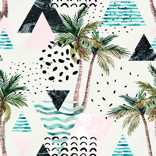 Poster de jardin Empreintes Graphiques Art illustration with palm tree, doodle, marble, grunge textures, geometric shapes