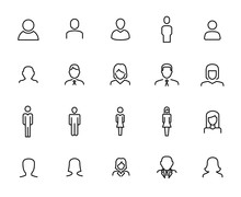 Premium Set Of User Line Icons.