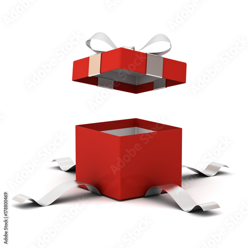Red open gift box , present box with silver ribbon bow isolated on white background with shadow Wallpaper Mural