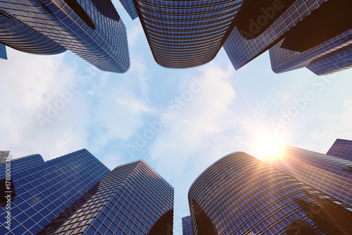 Photo  Low angle view of skyscrapers