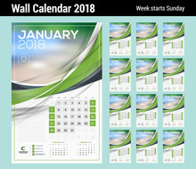 Vector Calendar Template For 2018 Year. Set Of 12 Months. Vector Design Print Template With Abstract Wave Elements And Place For Photo. Week Starts On Sunday
