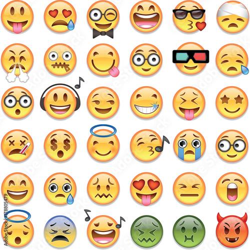 Big set of 36 emojis emoticons Wallpaper Mural