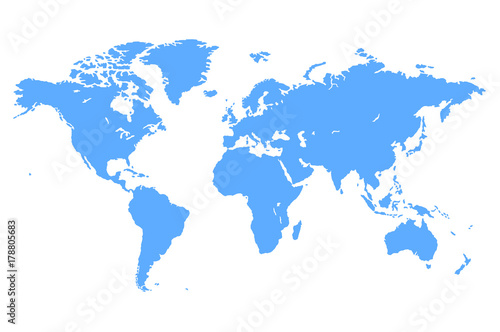 Obraz na plátně Blue Vector World Map