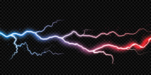 Lightning Electric Thunder Storm Light Flash. Vector Realistic Lightning Rain Weather Thunderbolt On Black Transparent Background. Neon Color Energy Electricity Light Flash Or Spark Burst Effect