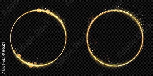 Foto Golden circle frame of gold glitter light particles