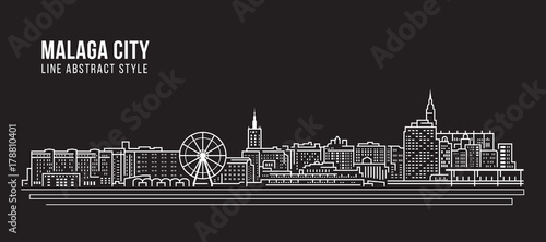 Photo  Cityscape Building Line art Vector Illustration design - Malaga city